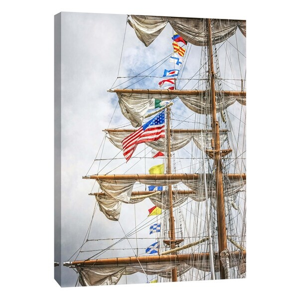 "PTM Images 9-105972 PTM Canvas Collection 10"" x 8"" - ""Tall Ship Mast Detail"" Giclee Flags and Ships Art Print on Canvas"