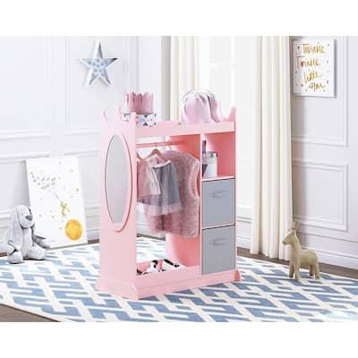UTEX Kids Dress up Storage with Mirror and Storage Bin,Kids Armoire Dresser,Costume Closet,Pretend Storage Closet for Kids