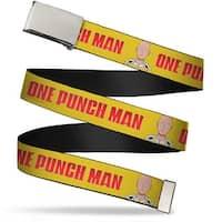 Blank Chrome Buckle One Punch Man Logo Saitama Face Yellow Silver Red Web Belt