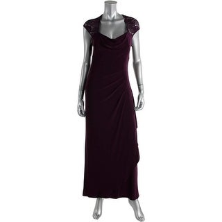 Calvin Klein Womens Lace Cap Sleeves Evening Dress - 2p