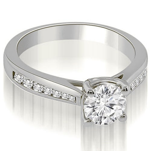 0.95 cttw. 14K White Gold Cathedral Channel Set Round Diamond Engagement Ring