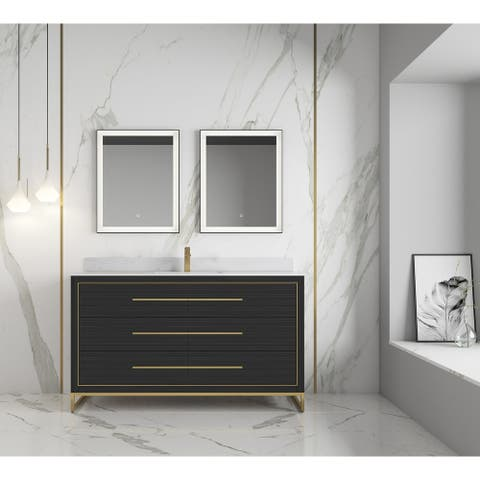 "None Barsalona 60"" Single Sink Vanity Dawn grey Finish , Golden Brass Hardware"