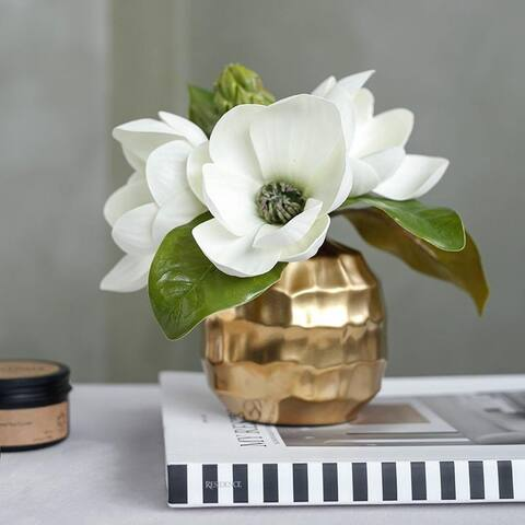 """FloralGoods Artificial Magnolia Flower in Metal Gold Vase 8.6"""" Tall"""