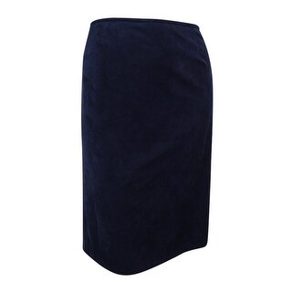 Tahari Women's Plus Size Faux-Suede Pencil Skirt - navy beauty