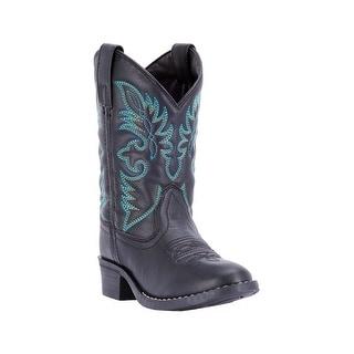 Laredo Western Boots Boys Leather Unit Round Cowboy Black LC2450