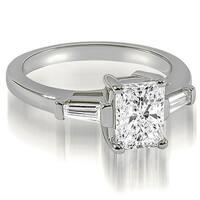 0.75 cttw. 14K White Gold Emerald Baguette Three Stone Diamond Engagement Ring