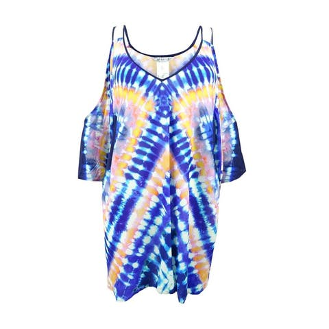 Trina Turk Women's Tie-Dyed Cold-Shoulder Tunic Cover-Up - Midnight