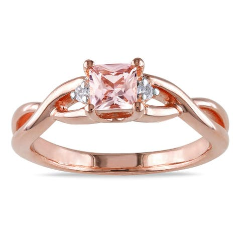 Miadora Rose Goldplated Silver Morganite Diamond Accent Ring