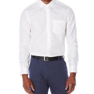 Perry Ellis NEW White Mens Size XL Pocket Non-Iron Micro-Dot Dress Shirt