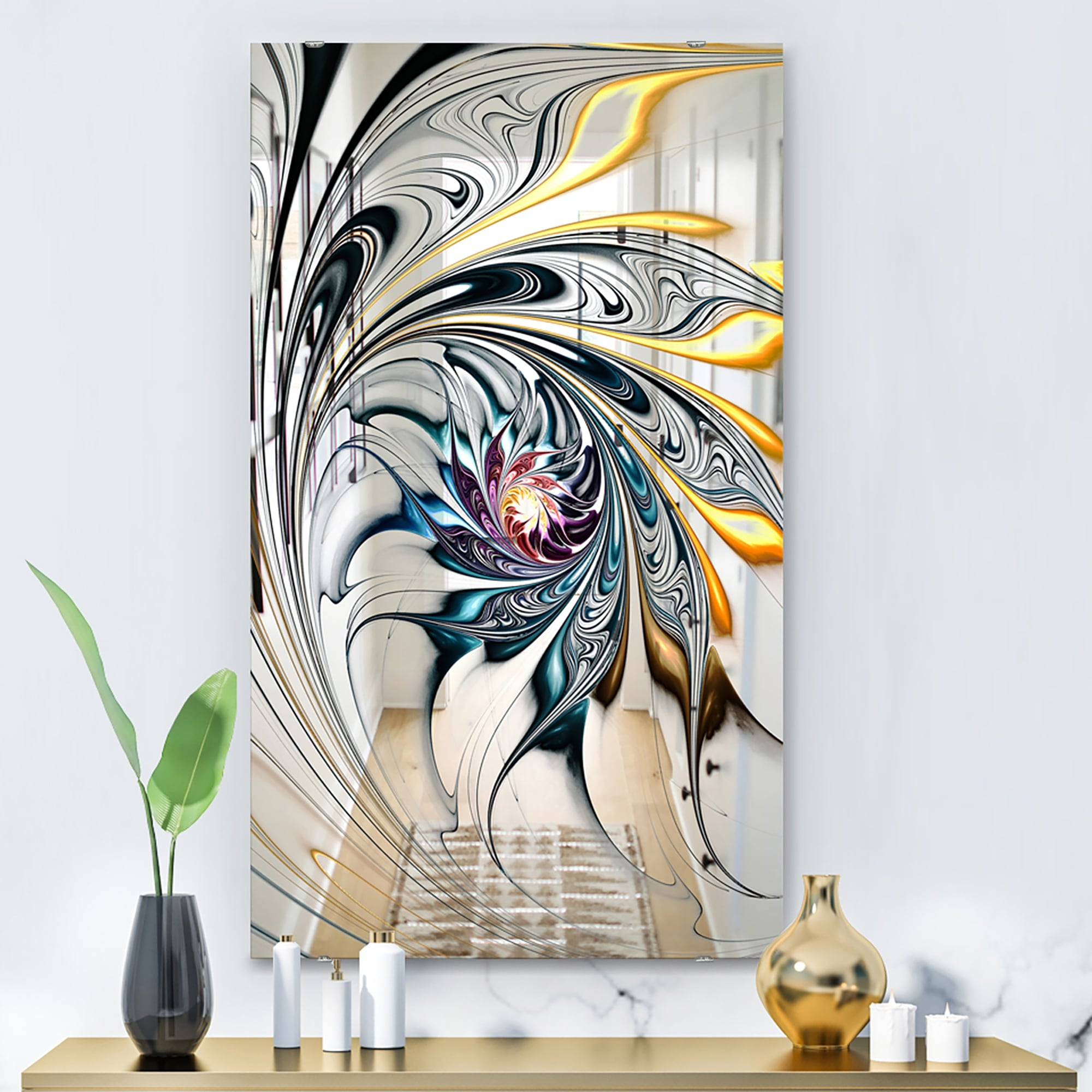 Designart White Stained Glass Floral Art Accent Mirror White On Sale Overstock 28022067