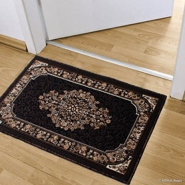 """Allstar Black Doormat Accent Rug Woven High Quality High Density Double Shot Drop-Stitch Carving (2' 0"""" x 3' 3"""")"""