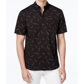 Wht Space NEW Men's Black Size Small S Feather Print Button Down Shirt