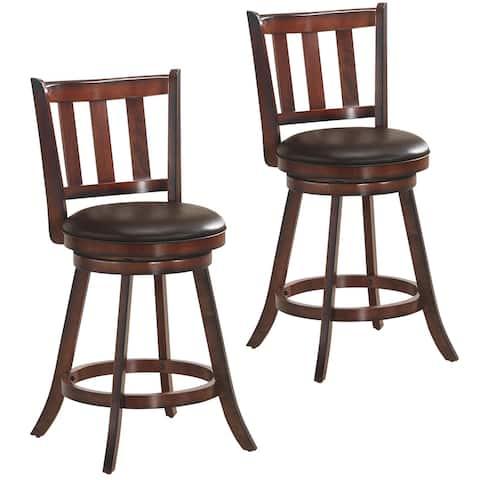 Costway Set of 2 25'' Swivel Bar stool Leather Padded Dining Kitchen - 23.5''x 23.5''x 38.5''(W x D x H)