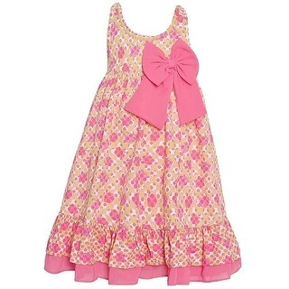 Bonnie Jean Little Girls Pink Green Polka Dot Bow Accent Ruffle Dress