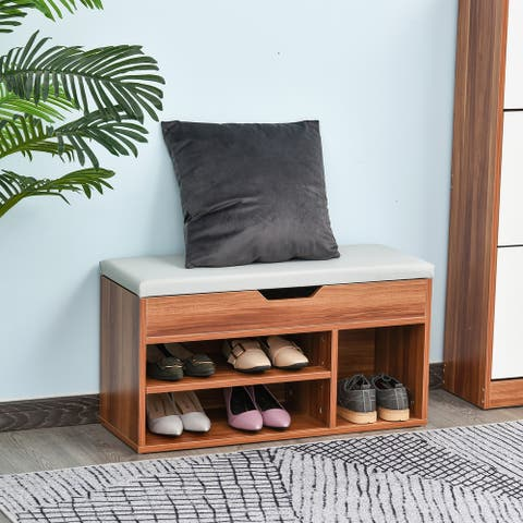 HOMCOM Sturdy Shoe Organizer Storage Bench with 2-Tier Rack for Storing Shoes, Socks with Padded Seat, Brown