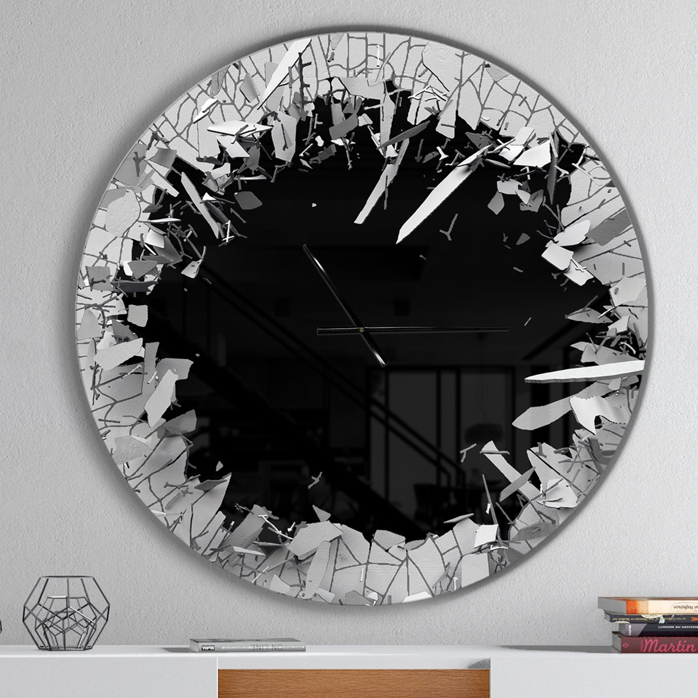 Strick Bolton Abstract Broken Wall 3d Design Metal Clock On Sale Overstock 23535022
