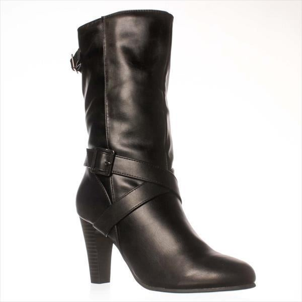 Shop Ks35 Violett Mid Calf Dress Boots Black Free Shipping On