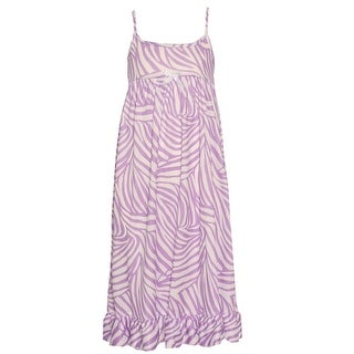 Little Girls White Lilac Zebra Stripe Print Spaghetti Strap Nightgown