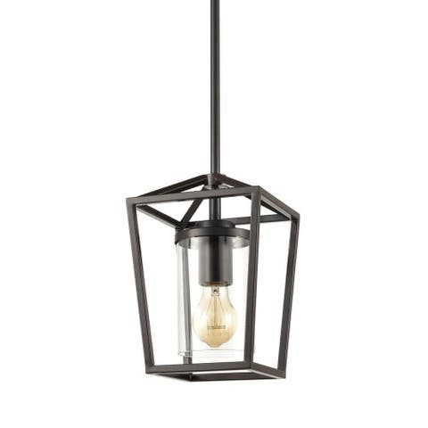 Pinerolo Industrial Black Pendant Lighting Vintage Cage Hanging Light with Clear Glass Cylinder Shade