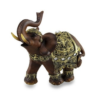 Exotic Wood Look And Gold Finish Trunk Up Thai Elephant Statue 6 Inches Tall - 7.75 X 8.25 X 4.75 inches