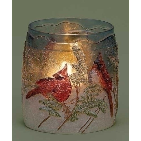 """4.25"""" Red Cardinal Winter Scene Textured Glass Votive Christmas Candle Holder"""