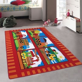 "Allstar Kids / Baby Room Area Rug. Trucks and Trains. Red Colorful Vibrant Colors (3' 3"" x 4' 10"")"