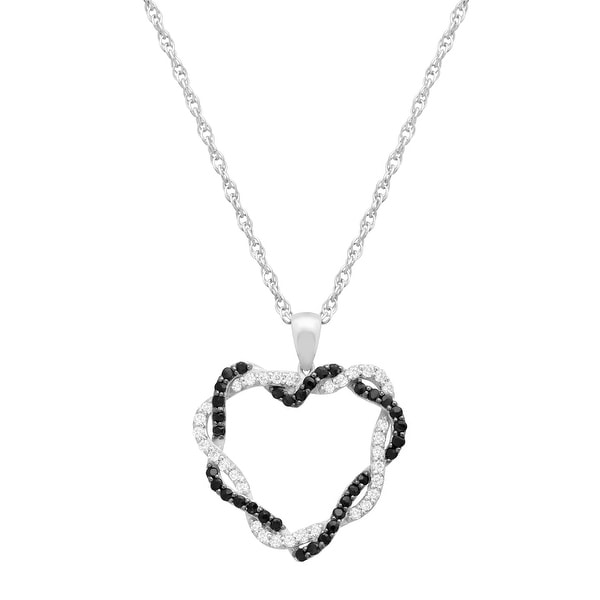 3/4 ct Natural Black & White Sapphire Heart Pendant Necklace in Sterling Silver