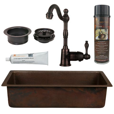Premier Copper Products BSP4_BREC28DB-G Bar Sink, Faucet and Garbage Disposal Drain Package