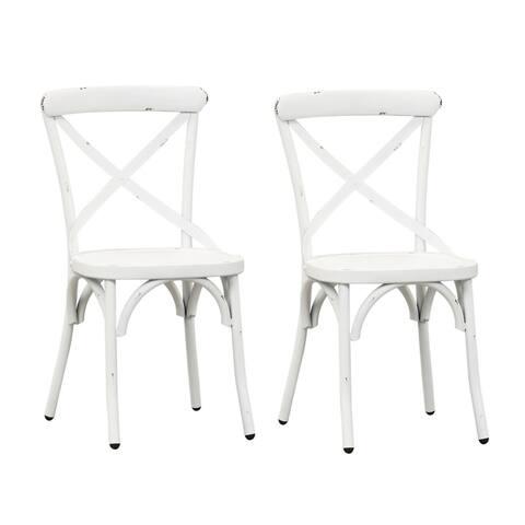 Carbon Loft Cauthen Vintage Series Antique White X-back Side Chair (Set of 2)