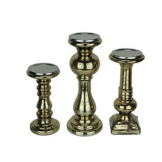 Antiqued Gold Mercury Glass Pillar Candle Holder Set of 3 - 5 X 13 X 5 inches