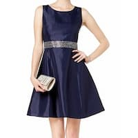 Nine West Blue Womens Size 14 Fit & Flare Embellished A-Line Dress