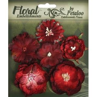 "Botanica Mixed Blooms 1.5"" - 2.25"" 6/Pkg-Red & Burgundy - Red"