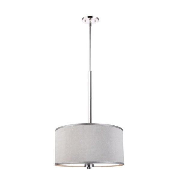 "Woodbridge Lighting 13420STN-S11802 37"" Height 3 Light Drum Pendant with Grey Shade and Satin Nickel Finish - satin nickel"