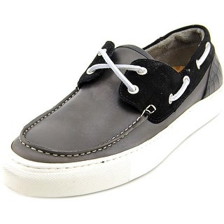 Kenneth Cole Reaction Time Square Men  Moc Toe Leather Black Boat Shoe