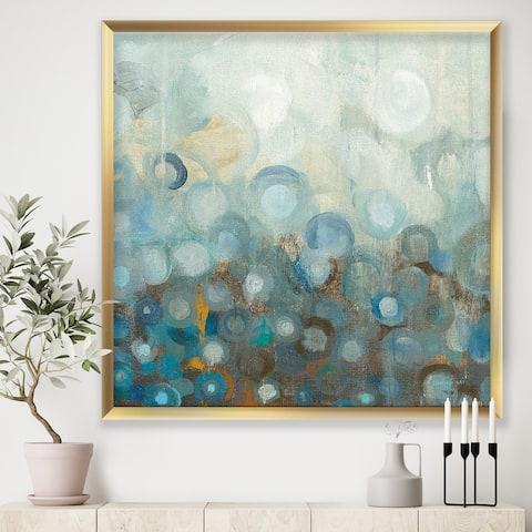Designart 'Blue and Bronze Dots on Glass II' Modern & Contemporary Framed Art Print