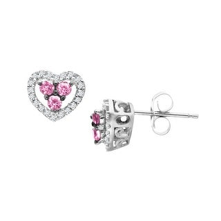 Natural Pink Sapphire and 1/10 ct Diamond Heart Stud Earrings in 14K White Gold