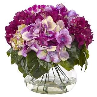 Nearly Natural Multi - Tone Hydrangea With Vase
