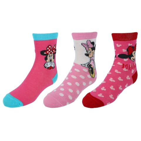 Disney Girl's Minnie Mouse Crew Socks (3 Pair Pack)
