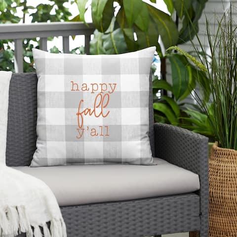 "Grey Buffalo Plaid ""Happy Fall Yall"" Indoor/ Outdoor Pillow"
