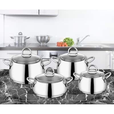 Akasya Stainless Steel Non Stick 4 Piece Cookware Sets