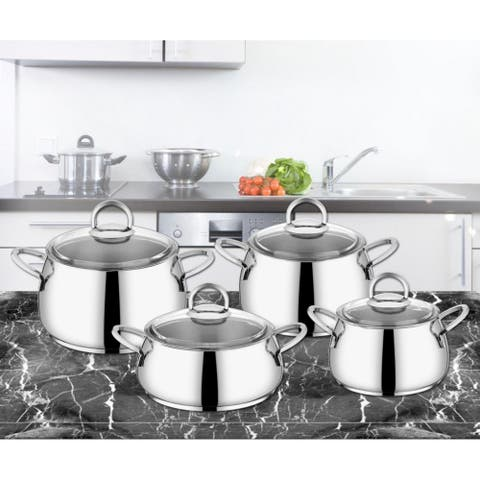 Akasya Stainless Steel Non Stick 4 Piece Cookware Sets