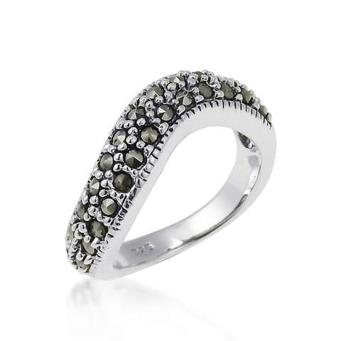 Handmade Contempo Swirl Marcasite Embellished Sterling Silver Ring (Thailand) - Black