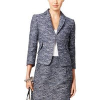 Tommy Hilfiger Womens Casual Blazer Tweed Clasp-Front