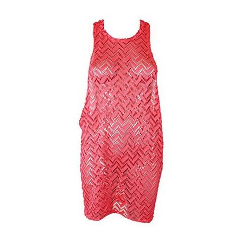 Miken Womens Crochet Racerback Dress Swim Cover-Up Pink S - neon coral - Small