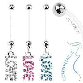 Dangle 'Love' Bio Flex Pregnancy Navel Belly Button Ring (Sold Ind.)