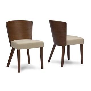 Minimalist Sparrow Brown Wood & Khaki Fabric Modern Dining Chair - 2 Chairs