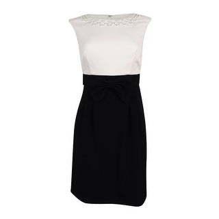 Tahari Women's Embellished Sheath Dress (2P, Ivory White/Black) - ivory white/black - 2p