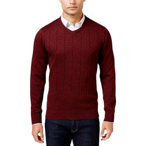John Ashford Mens Pullover Sweater Ribbed Trim Long Sleeves