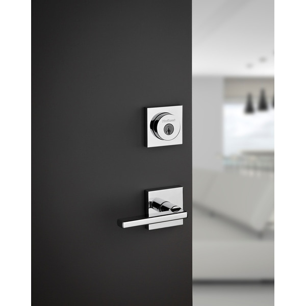 Kwikset 155HFL Halifax Privacy Door Lever Set with Push Button Lock and Emergenc