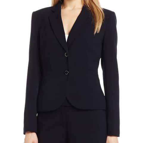 Calvin Klein Black Women's Size 12 Back Vent Two Button Lux Blazer